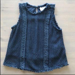 JOA Blue Crochet Tank Top Blouse L